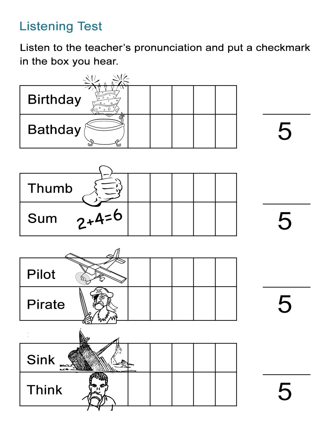 43 Free ESL Worksheets that Enable English Language Learners All ESL – Pronunciation Worksheets