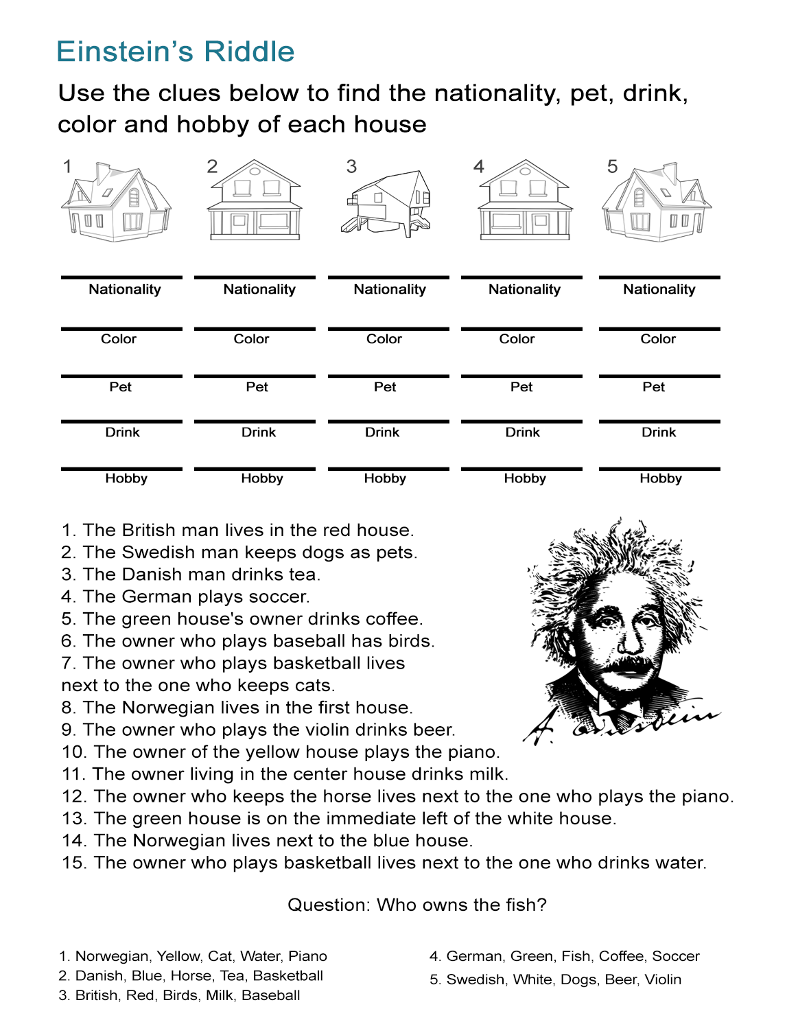 Worksheets Riddle Worksheets einsteins riddle detective style logic activity all esl activity