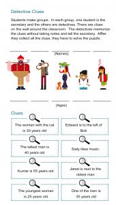 Detective Clues Puzzle Worksheet