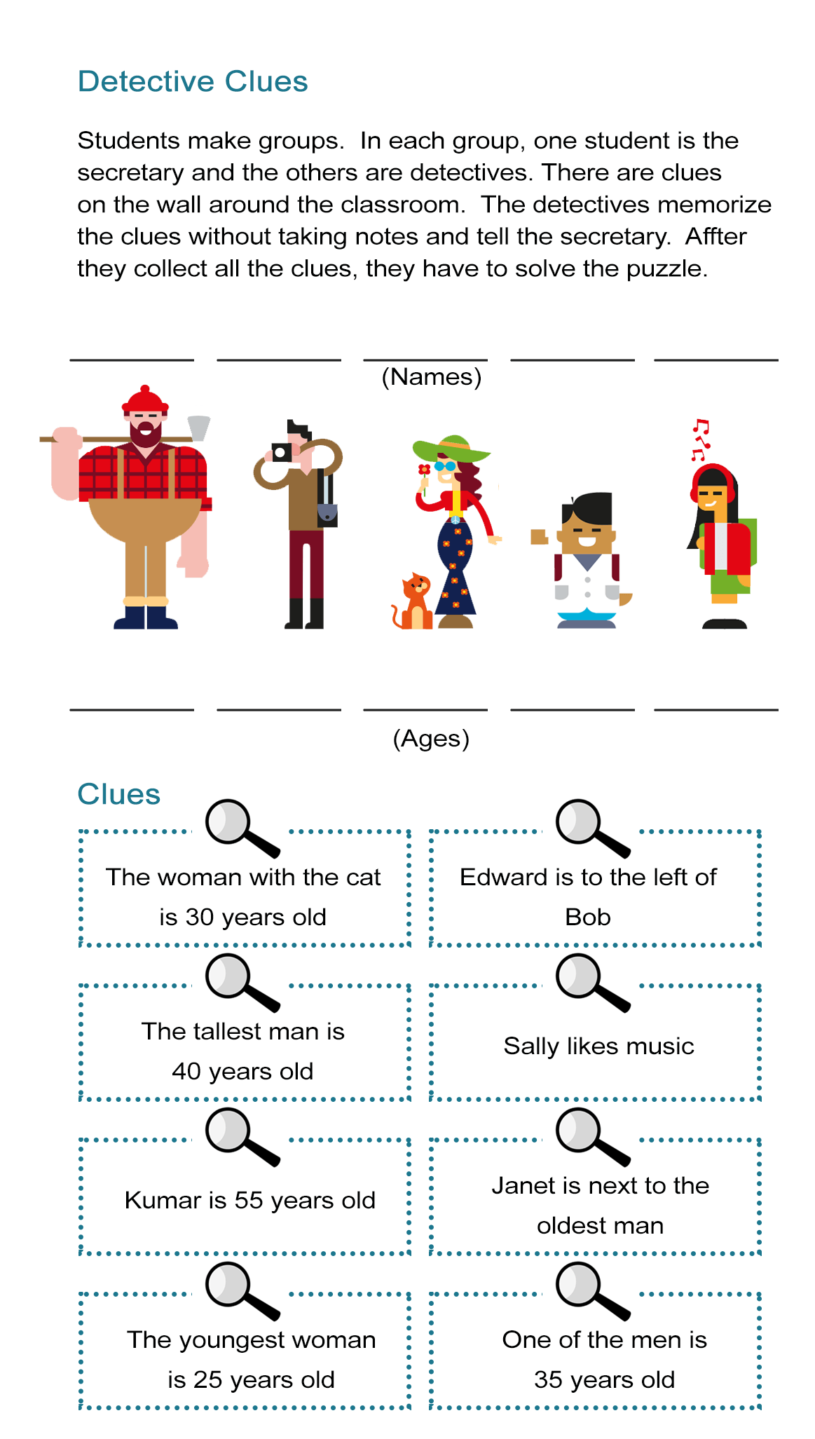 Detective Clues Solve The Mystery In The Puzzle Worksheet All Esl