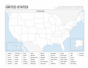 us coloring blank printable map