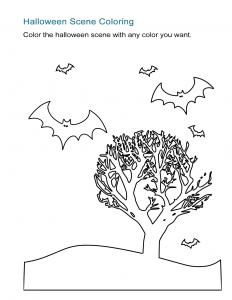 Halloween Landscape Coloring Sheet