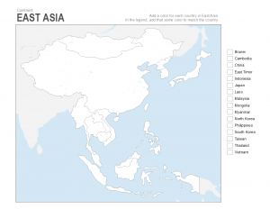 east Asia blank map for coloring