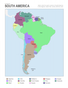 south America coloring map labels