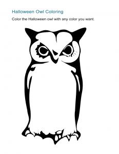 Halloween Owl Coloring Sheet