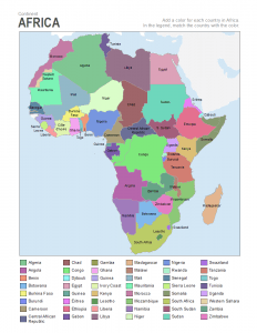 Africa coloring map labels