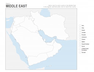middle east coloring map