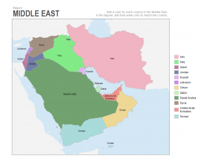middle east coloring map labels