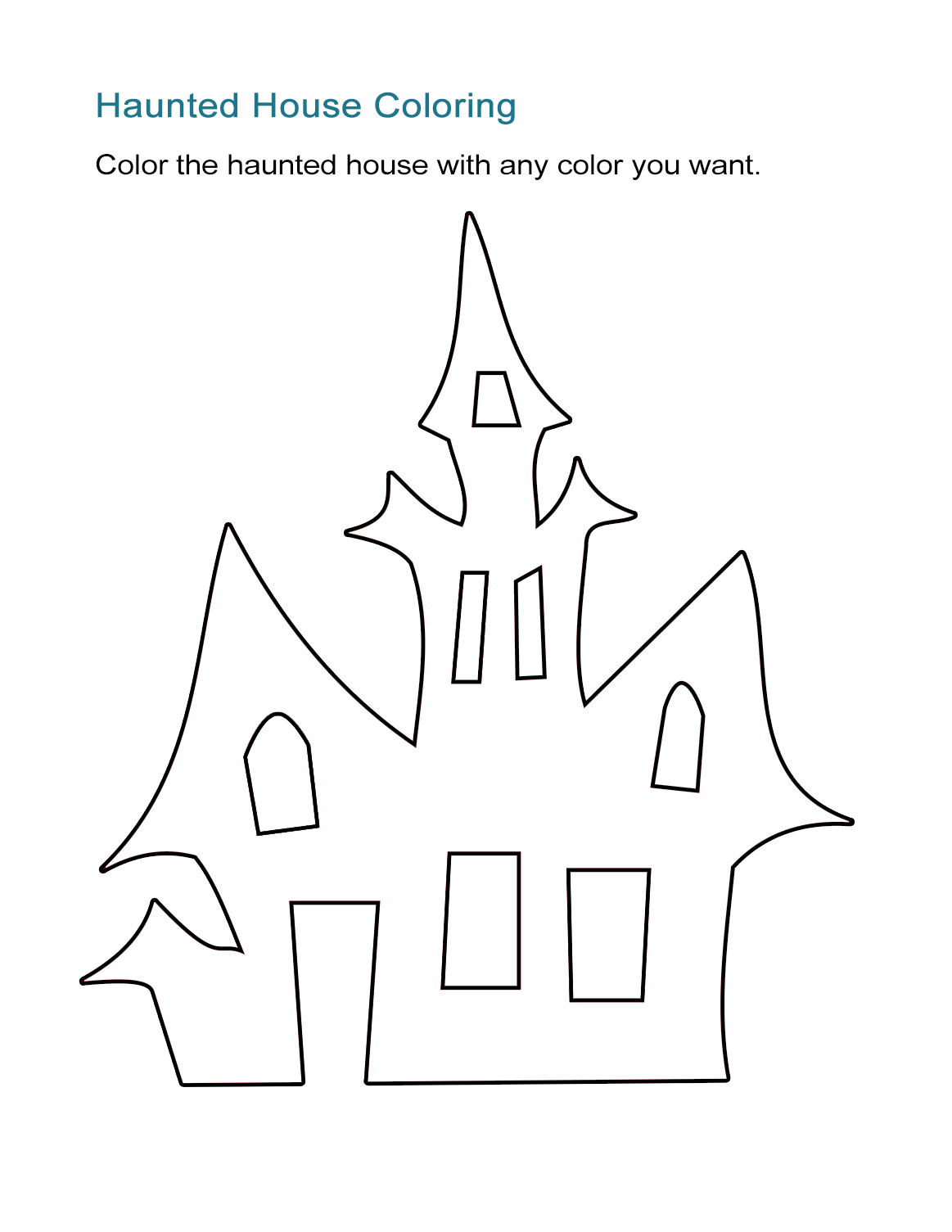 Exelent Haunted House Coloring Sheets Ensign Printable Coloring