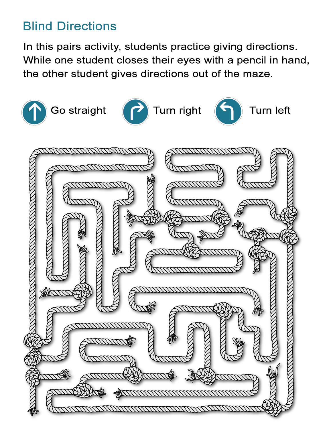 Maze Directions Worksheet: Can You Advance Through the Maze? - All ESL