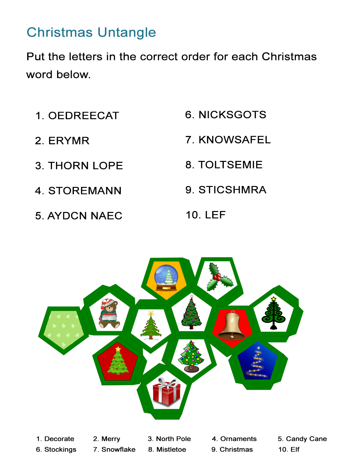 Christmas Vocabulary Untangle: Reorder Letters and Decipher