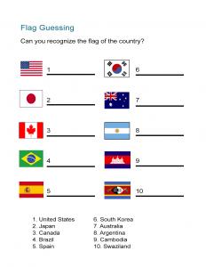 Flag Worksheet - Guessing Quiz