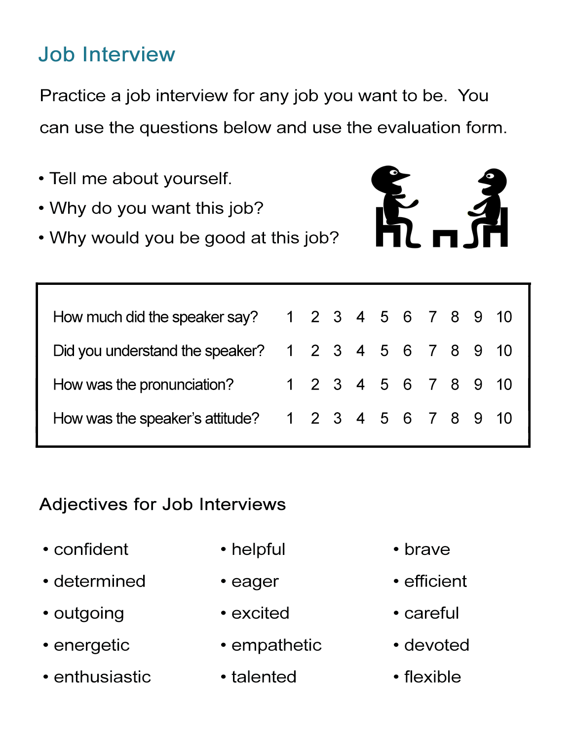 Worksheets Job Interview Worksheets job interview practice adjectives for resumes all esl resumes