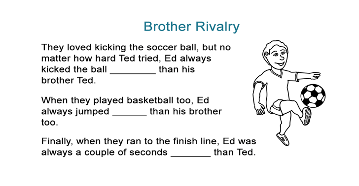 photo regarding Funny Fill in the Blank Stories Printable named Comparatives Adjectives Tale - Brother Contention - All ESL