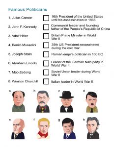 Famous Politicians Worksheet