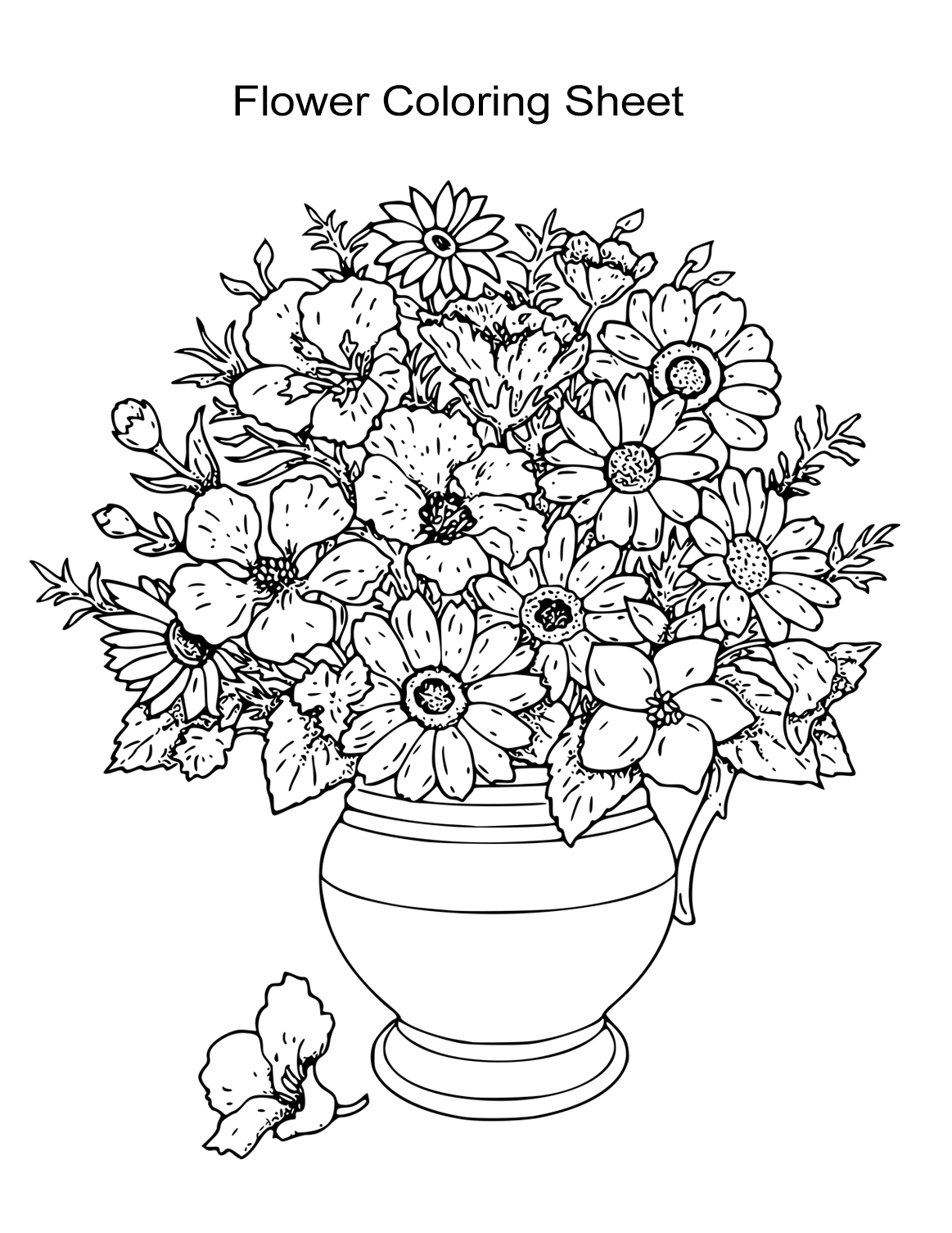 Flower Vase Coloring Sheet