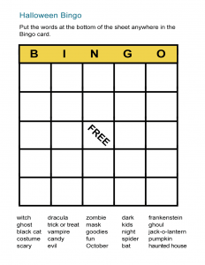 image about Halloween Printable Games called Halloween Bingo Playing cards: Printable Bingo Online games for Cl - All ESL