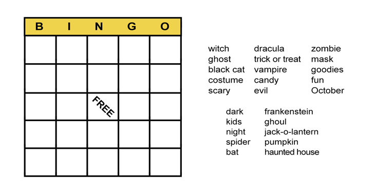 Halloween Bingo Cards: Printable Bingo Games for Class - All ESL