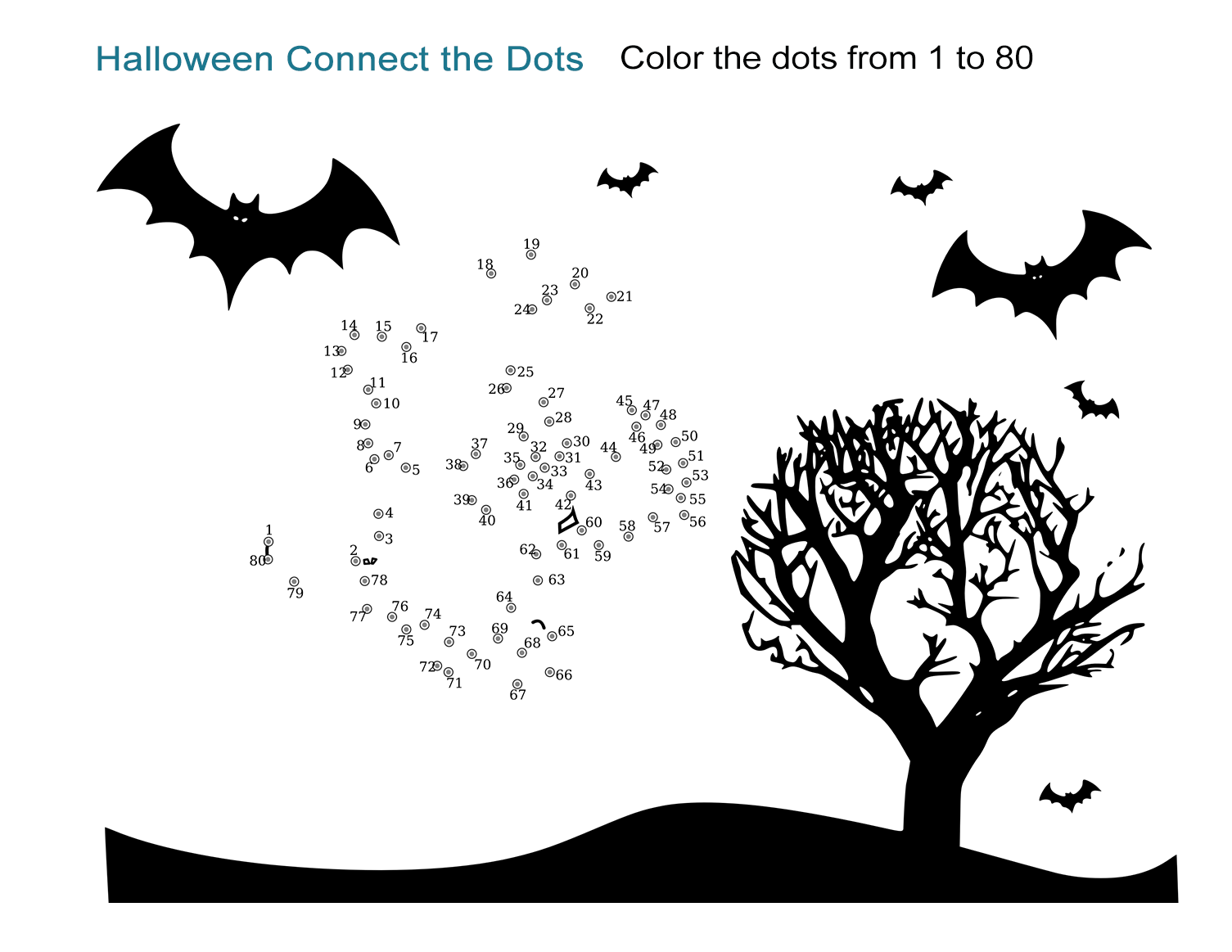 Halloween Connect the Dots Worksheet: Easy, Printable From 1 to 80 ...