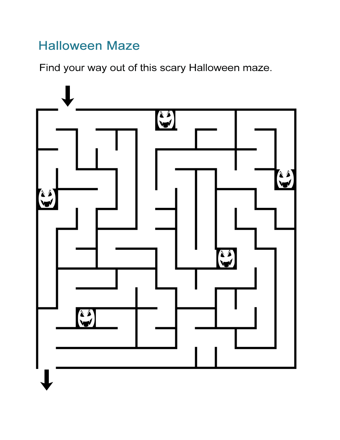 It is a graphic of Sassy Halloween Maze Printable