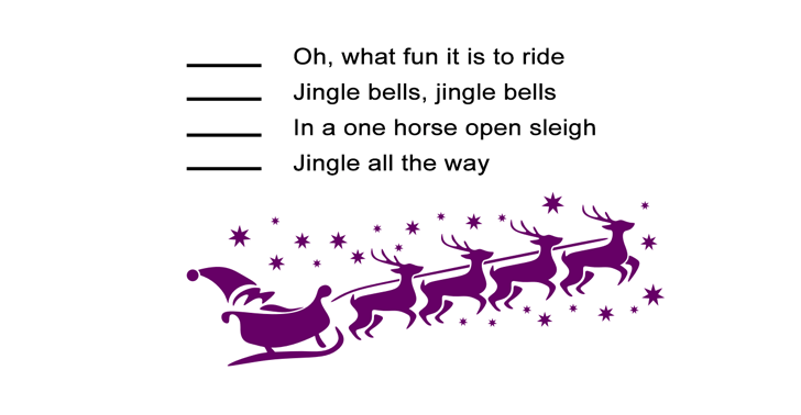 Jingle Bells for Kids Worksheet: Re-order the Song Lyrics Activity