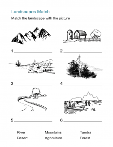 Ecosystems Worksheet - Landscapes Match