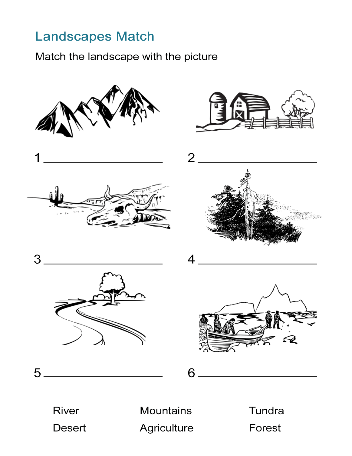 Ecosystems Worksheet Landscape Matching Quiz All Esl