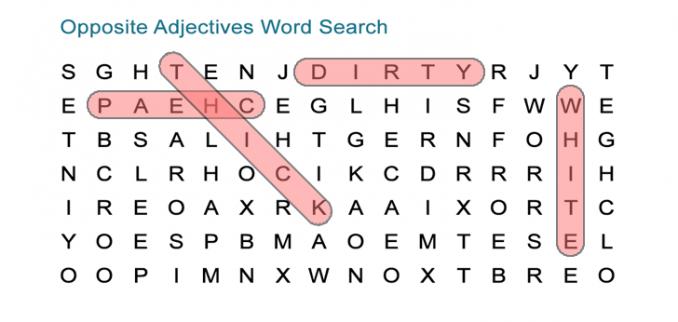 Opposite Adjectives Word Search Puzzle
