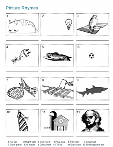 Picture Rhymes Worksheet
