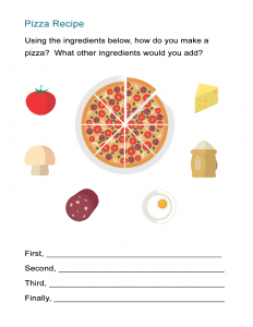 Pizza Recipe Transition Words Worksheet