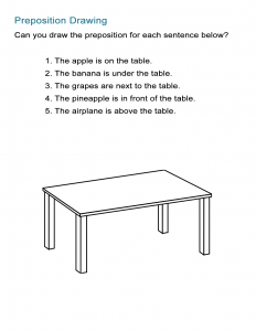 Preposition Game -Draw the Preposition