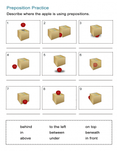 Prepositions of Location Worksheet - Where is the Apple