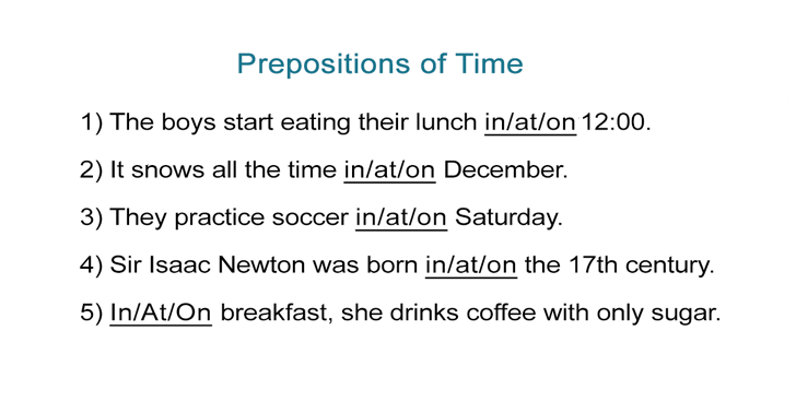 Prepositions of Time Worksheet