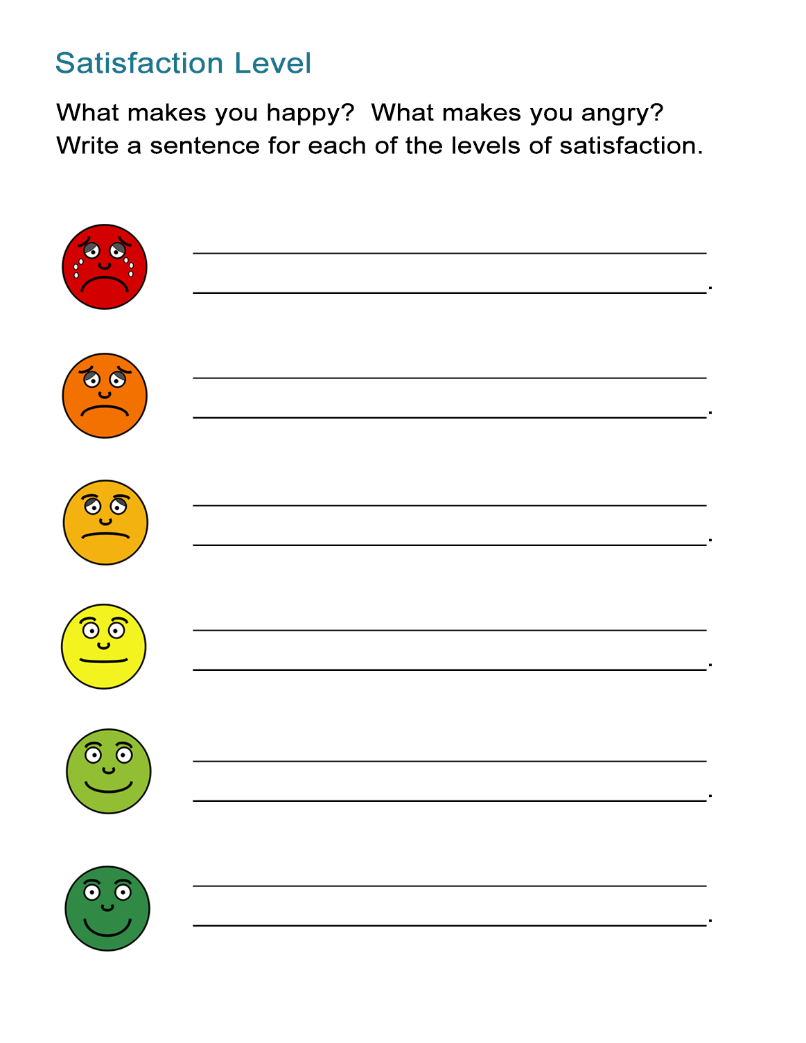 Satisfaction Game What Makes You Happy And Angry All Esl