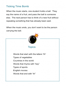 Pass the Ball - Talking Timebomb Vocabulary Worksheet