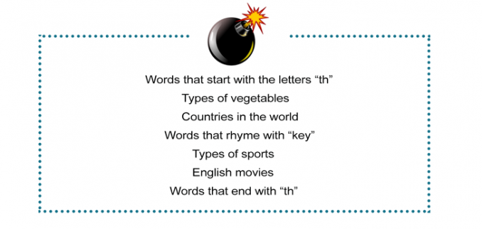 Talking Time Bomb Vocabulary Worksheet