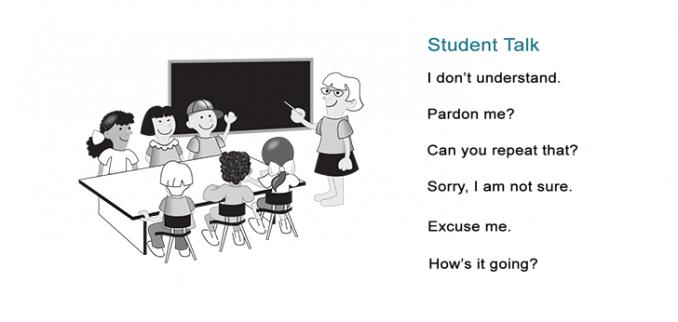Teacher Talk Student Talk Common Classroom Phrases