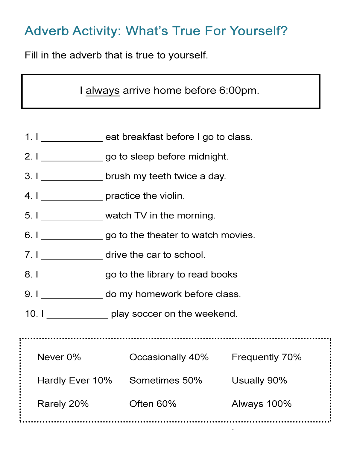 adverb activity what s true for yourself all esl