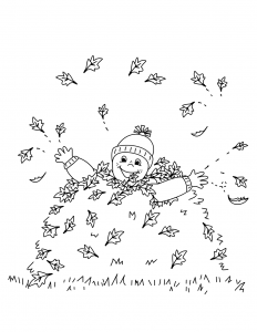 Boy in Leaves Autumn Coloring Page