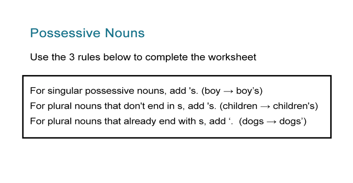 Possessive Nouns Worksheet Singular And Plural Nouns All Esl