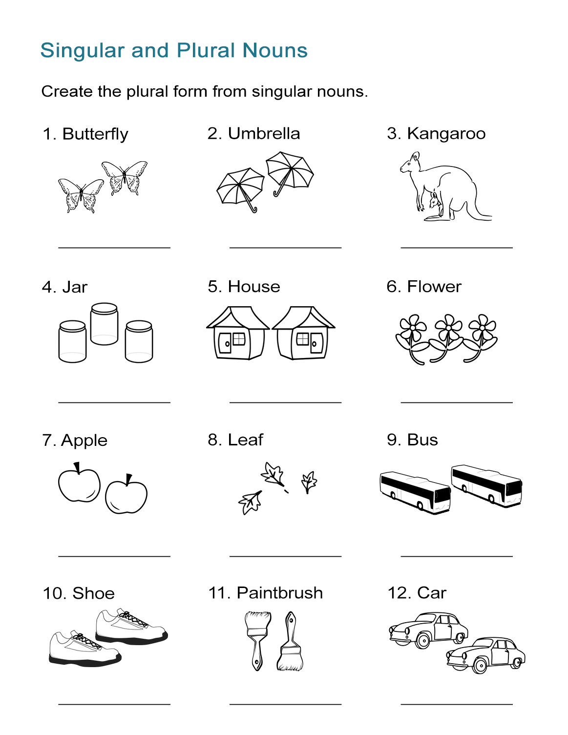 Singular and Plural Nouns Worksheet - All ESL